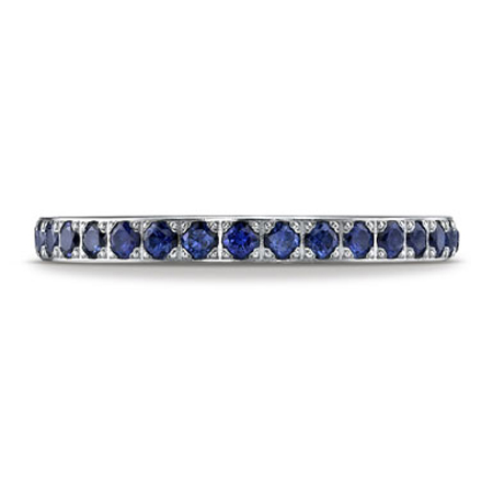 Blue Sapphire Pave-Set Eternity Band Ring, 14K White Gold
