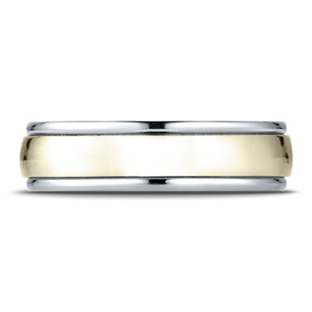 Comfort-Fit 14K Two-Tone Gold High Polished Smooth Wedding Band Ring