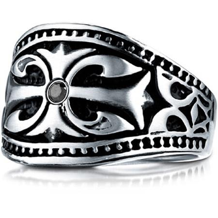 Emblazoned Cross Black Diamond Cobalt Ring
