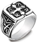 Men's Cobalt Blackened Cross Coat of Arms Ring