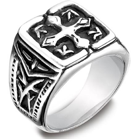 Men's Cobalt Blackened Cross Coat of Arms Ring
