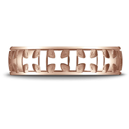 14K Rose Gold Gaelic Cross Carved Design Band