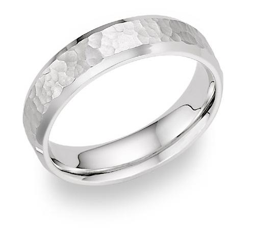 Bevel-Edged Hammered Wedding Band, 14K White Gold