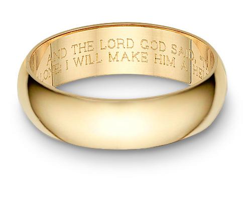 Bible Verse Wedding Band Ring Yellow Gold