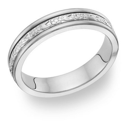 Carved Flower White Gold Wedding Band Ring, 14K