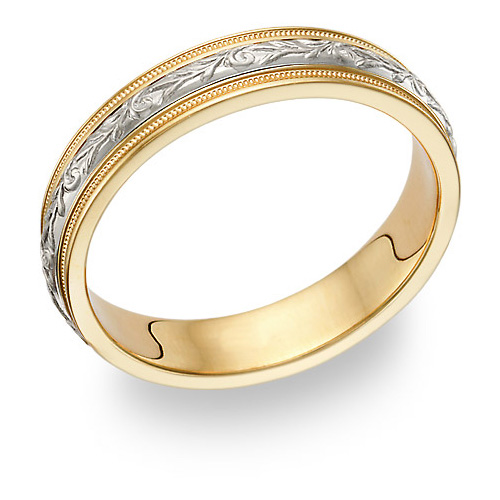 Carved Paisley Wedding Band Ring, 14K Ttwo-Tone Gold