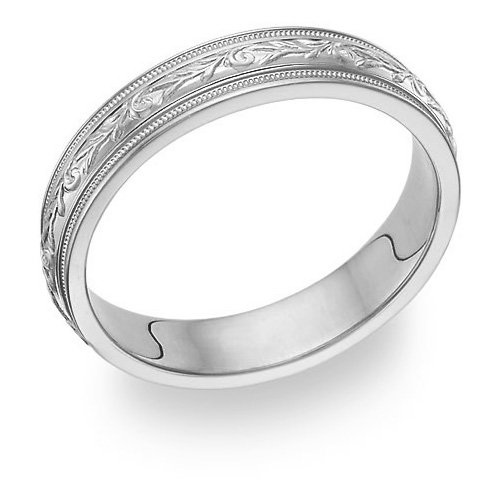 carved paisley white gold wedding band ring
