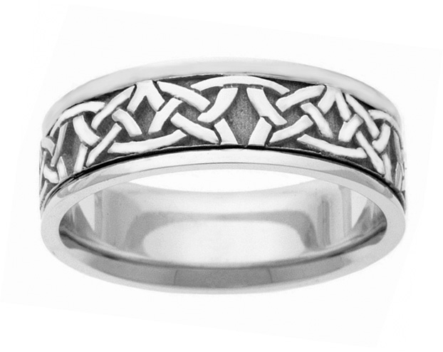 Traditional Celtic Wedding Band Ring in White Gold