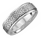 Celtic Heart Knot Wedding Band in White Gold