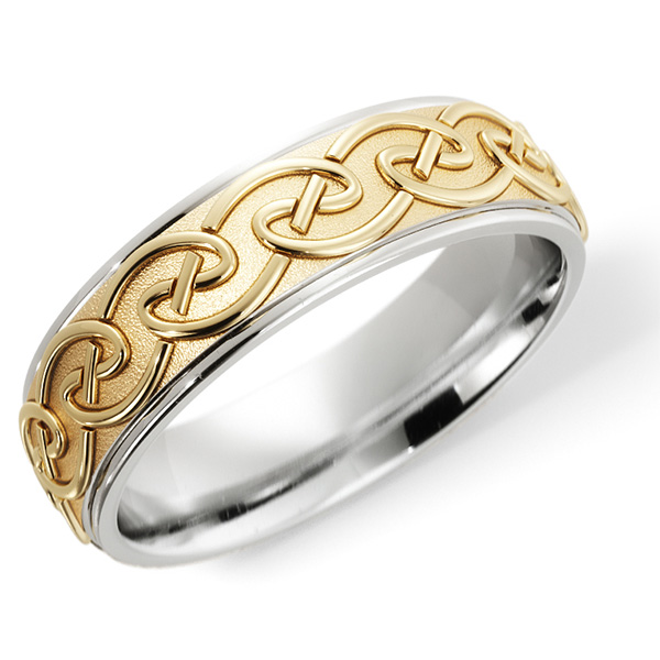 Celtic Knot Embrace Wedding Band Ring, 14K Two-Tone Gold