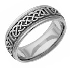 Celtic Pattern Wedding Band Ring in White Gold