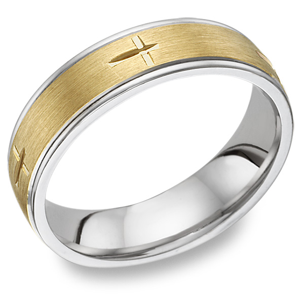 Christian Cross Etched Wedding Band Ring, 14K Two-Tone Gold