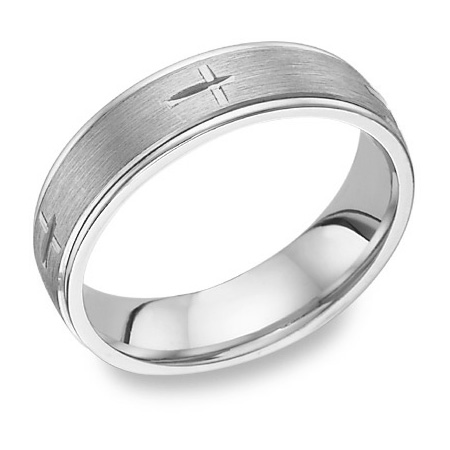 Etched Cross Wedding Band Ring in 14K White Gold