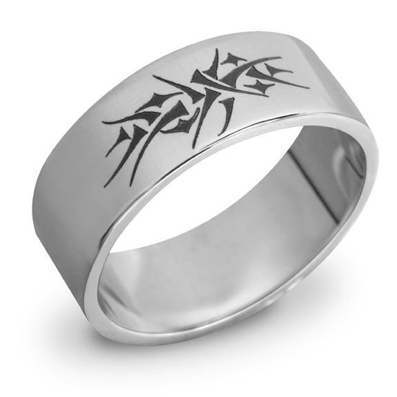 14K White Gold Crown of Thorns Wedding Band Ring