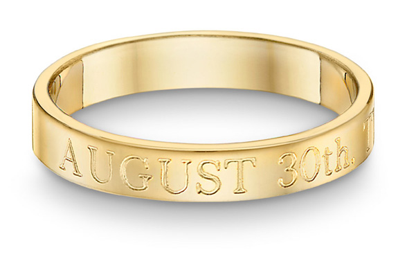 Custom Wedding Date Ring in 14K Gold