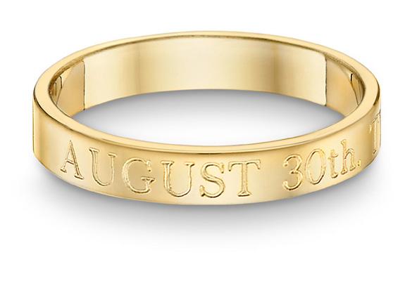 Custom Wedding Date Ring in 14K Gold