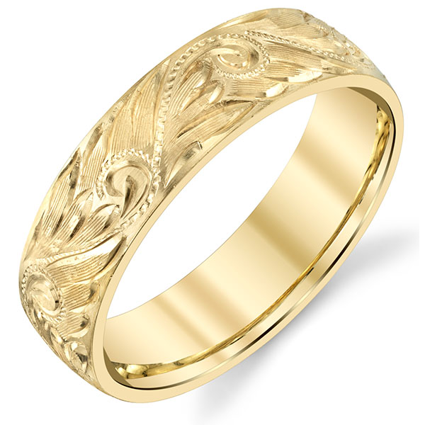 Deeply Etched 14K Gold Paisley Wedding Band Ring