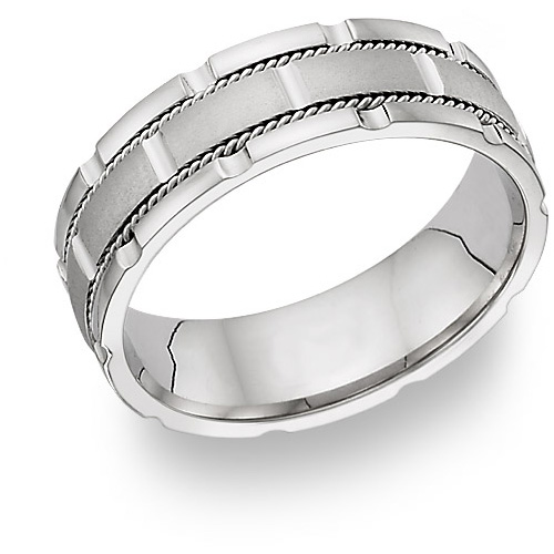 14K White Gold Design Wedding Band Ring