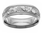 Silver Design Flower Wedding Band Ring