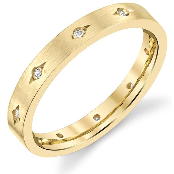 Designer Etch-Set 14K Gold Diamond Wedding Band Ring for Women