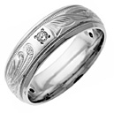 Diamond Paisley Wedding Band Ring in Sterling Silver