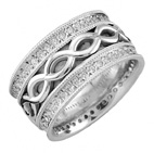 Silver Infinity CZ Stone Wedding Band Ring