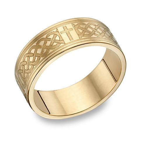 14K Gold Engraved Celtic Cross Wedding Band