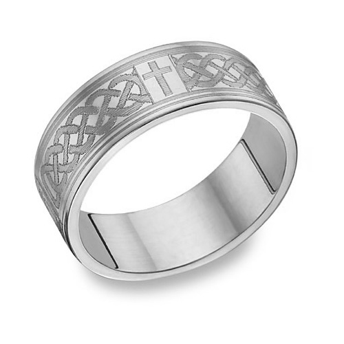 Platinum Engraved Celtic Cross Wedding Band