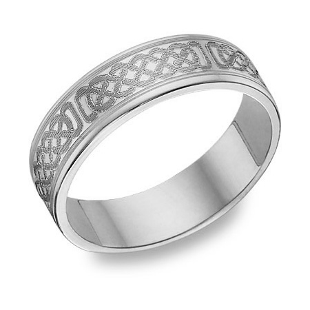 14K White Gold Engraved Celtic Wedding Band