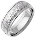 Engraved Platinum Paisley Swirl Wedding Band
