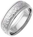 Engraved Silver Paisley Swirl Wedding Ring