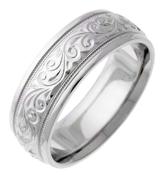 Engraved Paisley Swirl Wedding Band Ring