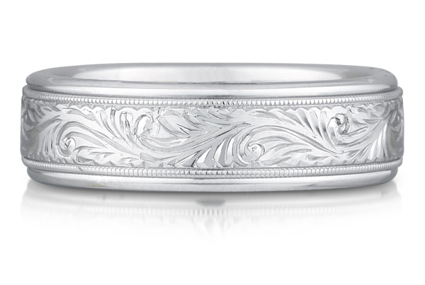Paisley Engraved Wedding Band, 14K White Gold