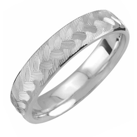 Engraved Weave Wedding Band Ring in White Gold