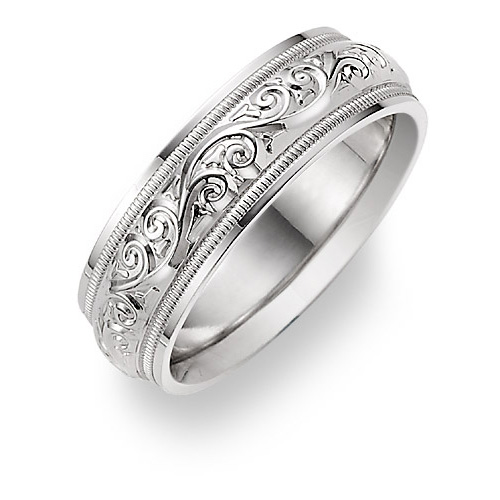 Paisley Etched White Gold Wedding Band Ring