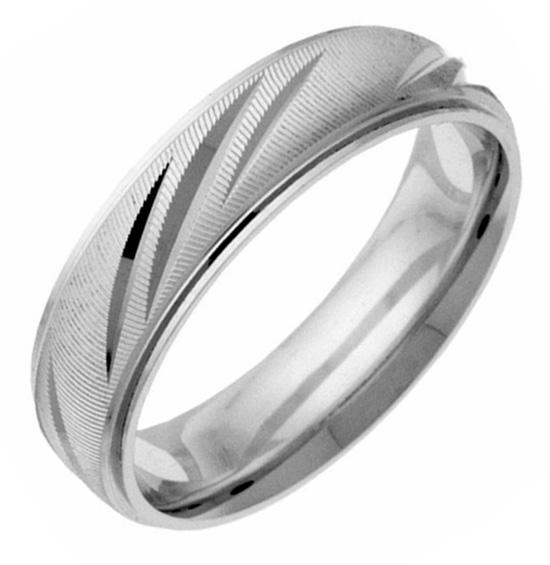 Silver Fancy-Cut Wedding Band Ring
