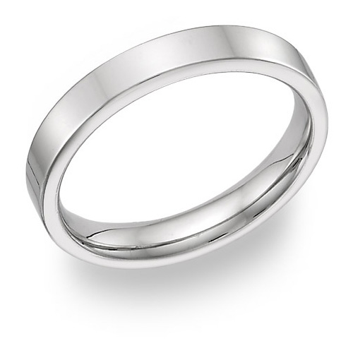 18K White Gold 4mm Flat Wedding Band Ring