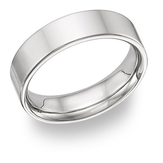 Flat 6mm Wedding Band Ring, 14K White Gold