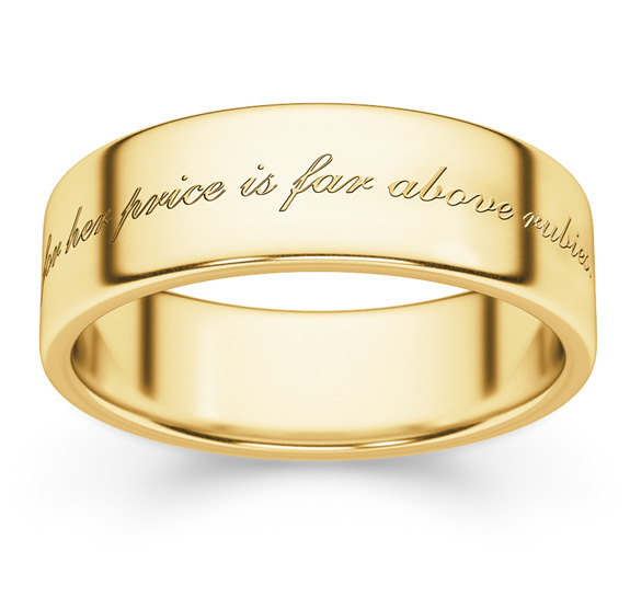 For Her Price is Far Above Rubies Wedding Band Ring