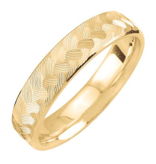 Gold Engraved Weave Design Wedding Band Ring
