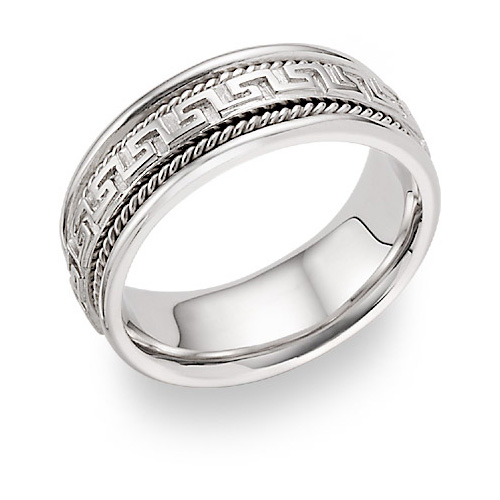 Greek Key Wedding Band Ring in 14K White Gold