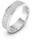 14K White Gold Hammered Wedding Band Ring
