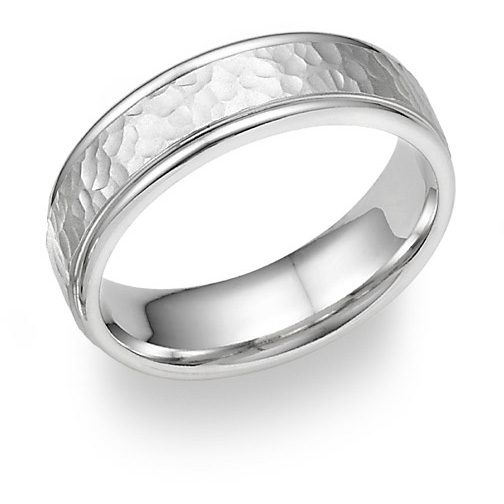 Completely new 14K White Gold Hammered Wedding Band Ring JE27