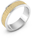 14K Gold and Silver Hammered Wedding Band Ring