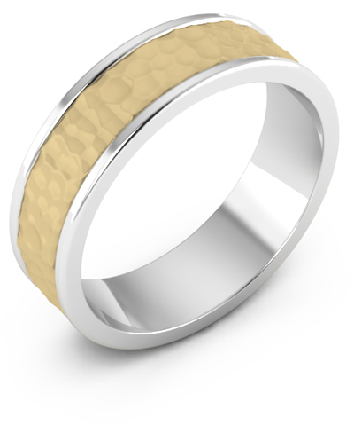 14K Gold and Silver Hammered Wedding Band Ring thumbnail