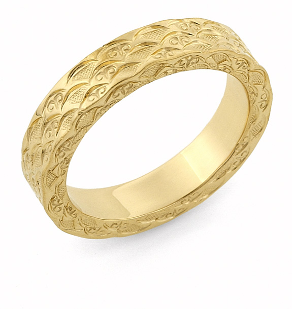 Hand Carved Designer Wedding Band, 14K Gold