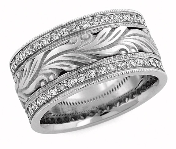 Hand Carved Paisley Diamond Wedding Band Ring