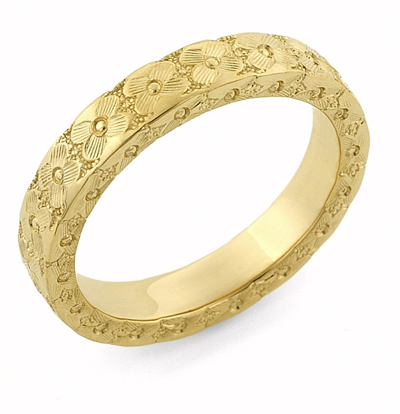 Hand Carved Flower Wedding Band Ring, 14K Gold