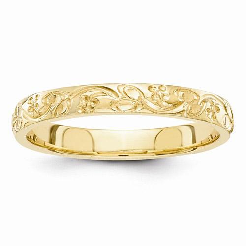 Hand Engraved Floral Wedding Band Ring 14K Gold