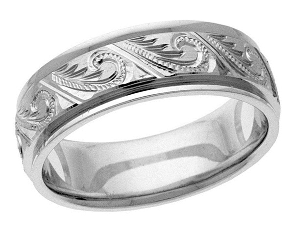 Hand-Engraved Paisley Wedding Band Ring